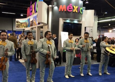Mariachis strolled near the Mexico exhibit