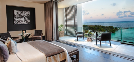 Ocean Suite with glass-wrapped balcony at Nizuc Resort & Spa, Cancun