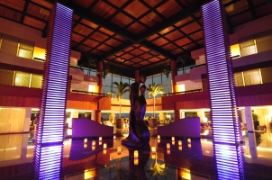 Oasis Sens lobby at night