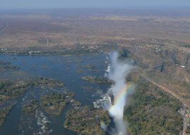 My view of Victoria Falls from the helicopter cockpit.