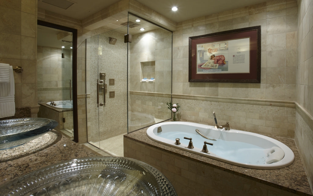 The Heritage guest room is appointed with Kohler bath and shower.
