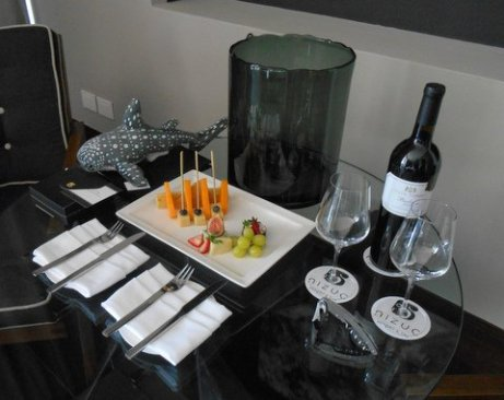 My hosts graciously welcomed me with a lovely spread--and a plush whale shark.