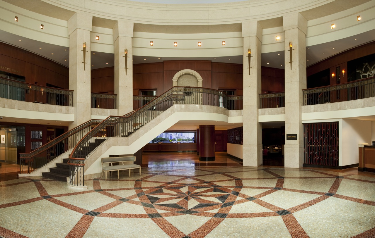 The grand staircase welcomes guests to the InterContinental Hotel in Chicago.