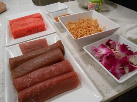 The basic ingredients for our tuna and watermelon dinner