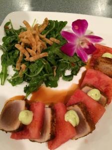 Seared rare yellowfin tuna and watermelon
