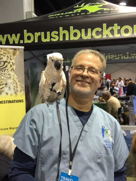 BrushBuck Wildlife Tours brought a friend to the Chicago show.