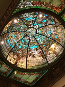 The stained-glass dome above the Sculpture Room at the Driehaus Museum. Photo by Pamela McKuen