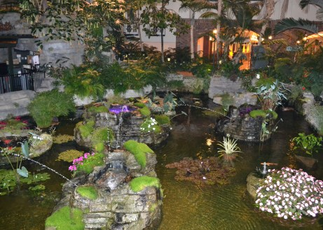 Opryland Cascades pond at night.