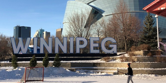 Letters spell out the city name of Winnipeg.