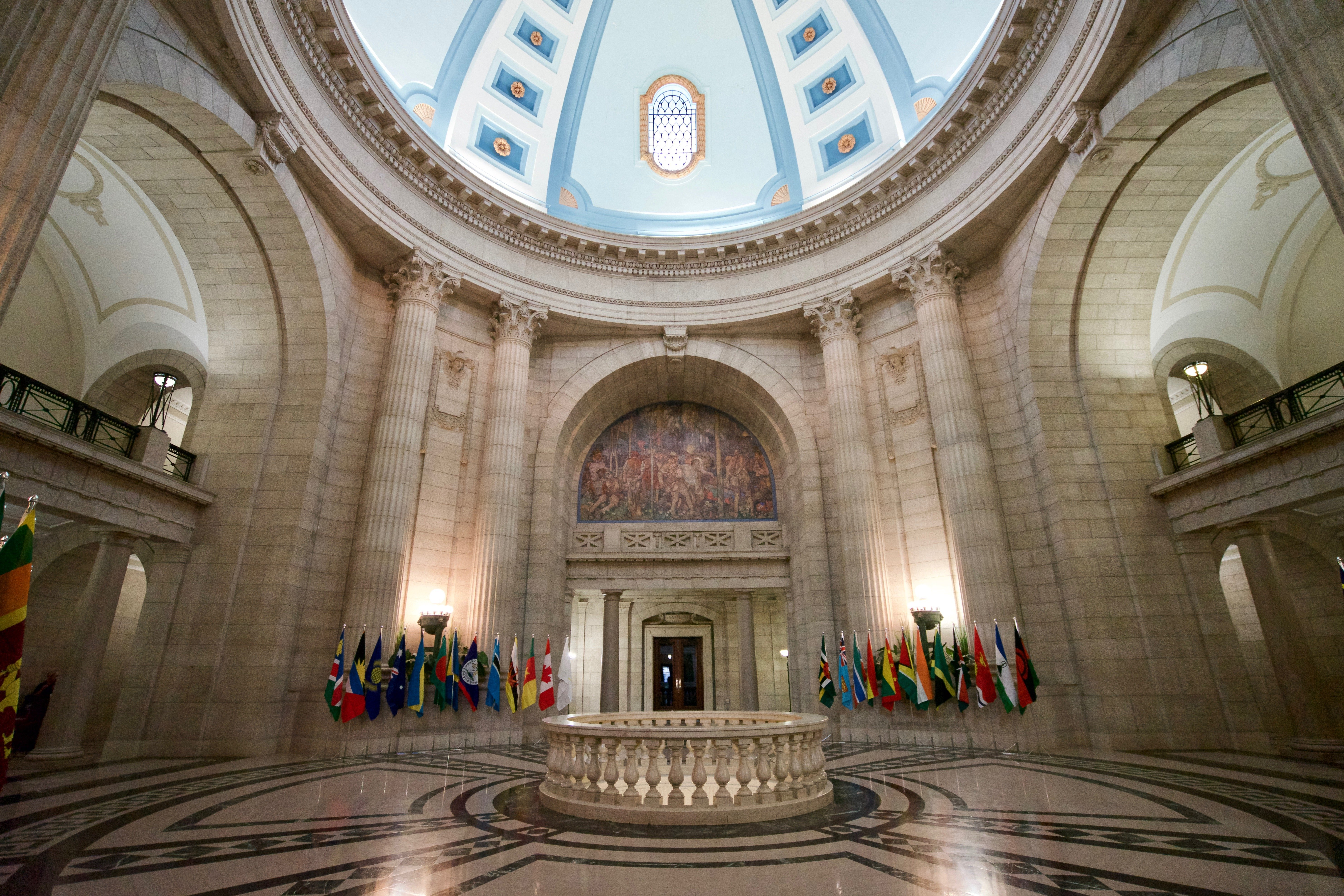 The majestic domed lobby of the Manitoba Legislative Building in Winnipeg.